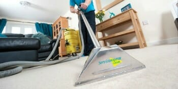 tech providing rug cleaning service