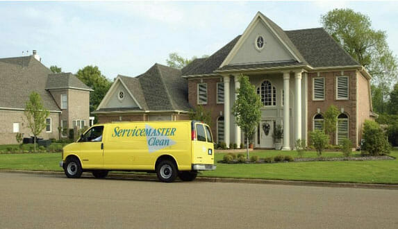 company van in front of estate