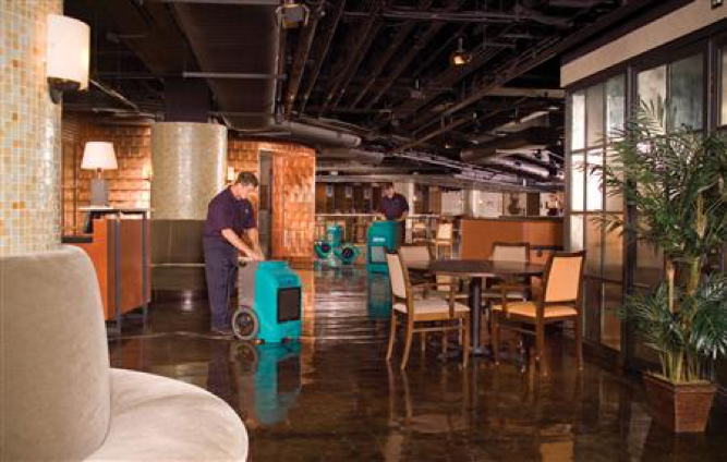 cleaning restaurant after flood