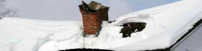 Snow collapsed roof