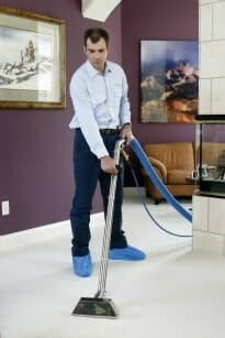 Tech providing home cleaning services