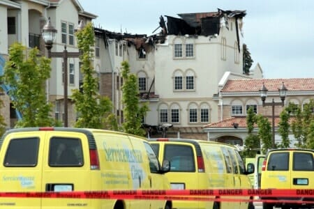 fire damaged house vans