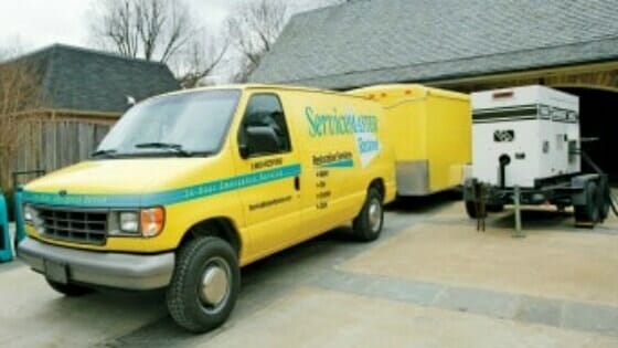 ServiceMaster truck at home