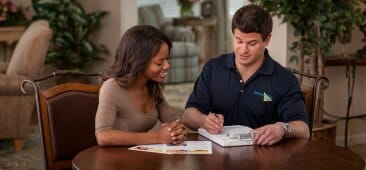 servicemaster technician with customer
