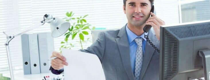 business man computer organizing
