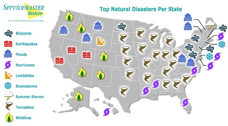 Natural Disasters By State Map Is Your Area At Risk - Us-disaster-map