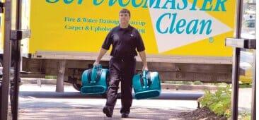 servicemaster tech entering chicago hotel