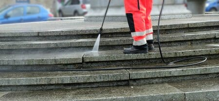 power washing building stairs