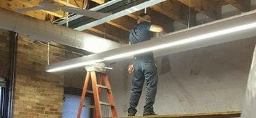 new construction cleaning service dusting ceilings