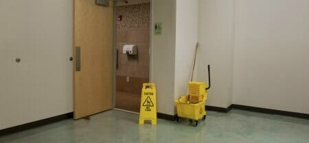 womens bathroom restaurant floor