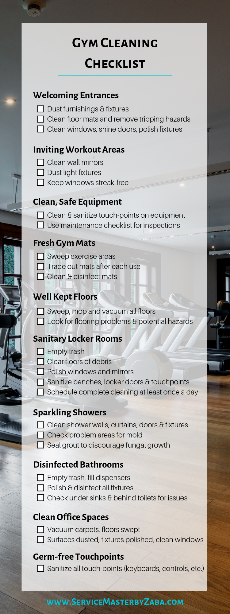 gym cleaning checklist