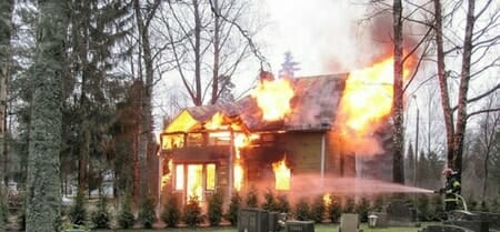 house burning due to christmas tree
