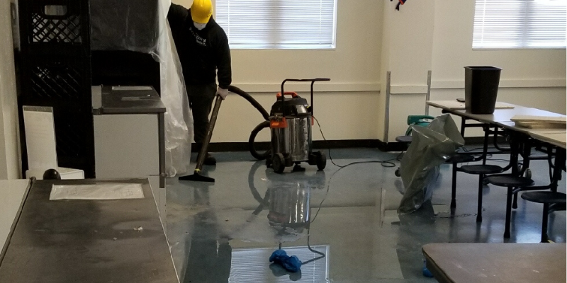 cleaning up water damage due to fire sprinkler discharge