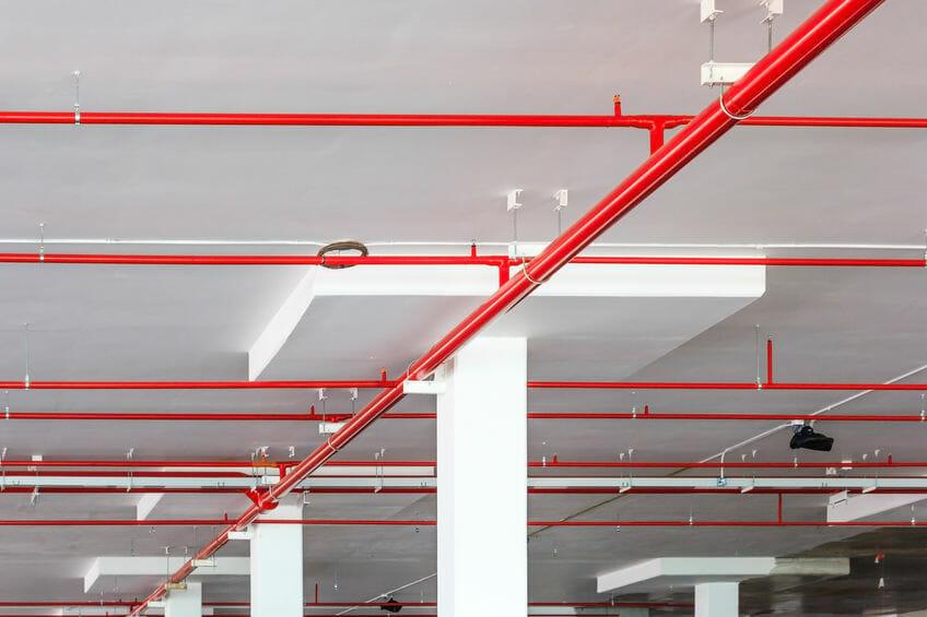 sprinkler system discharge in commercial building