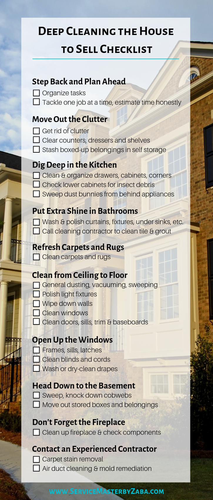 deep cleaning house to sell checklist