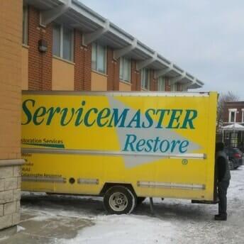 ServiceMaster van responding to school