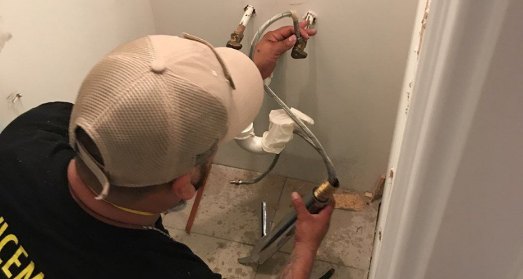 bathroom water damage tech