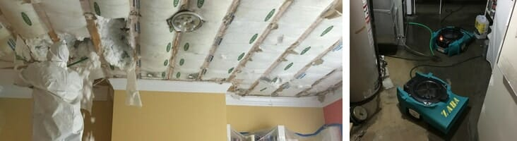 water damage repair job in wilmette illinois