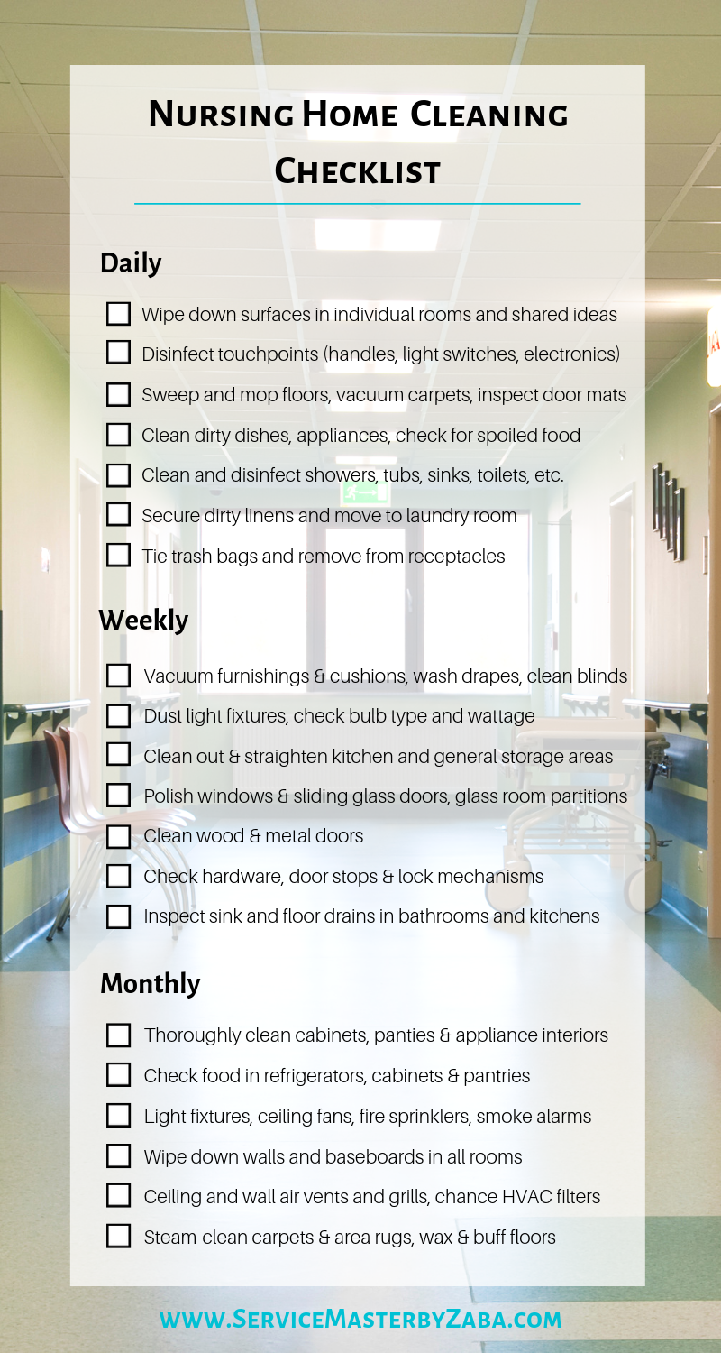 nursing home cleaning checklist
