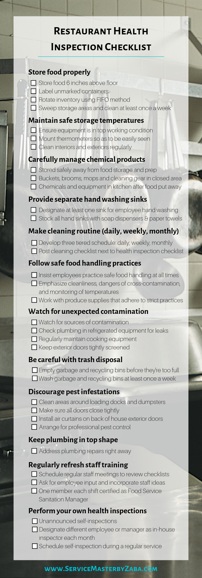 restaurant health inspection checklist