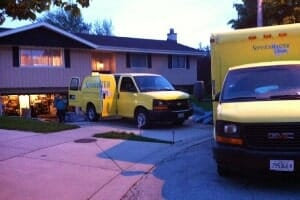 servicemaster truck at skokie home for hoarder inspection
