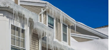 ice dams on a house in chicago