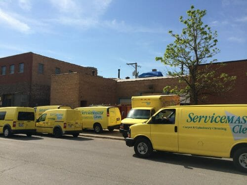 servicemaster truck at chicago warehouse