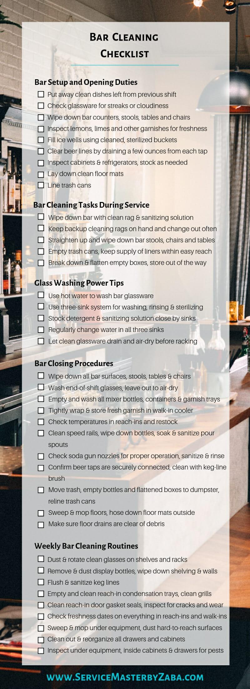 bar cleaning checklist