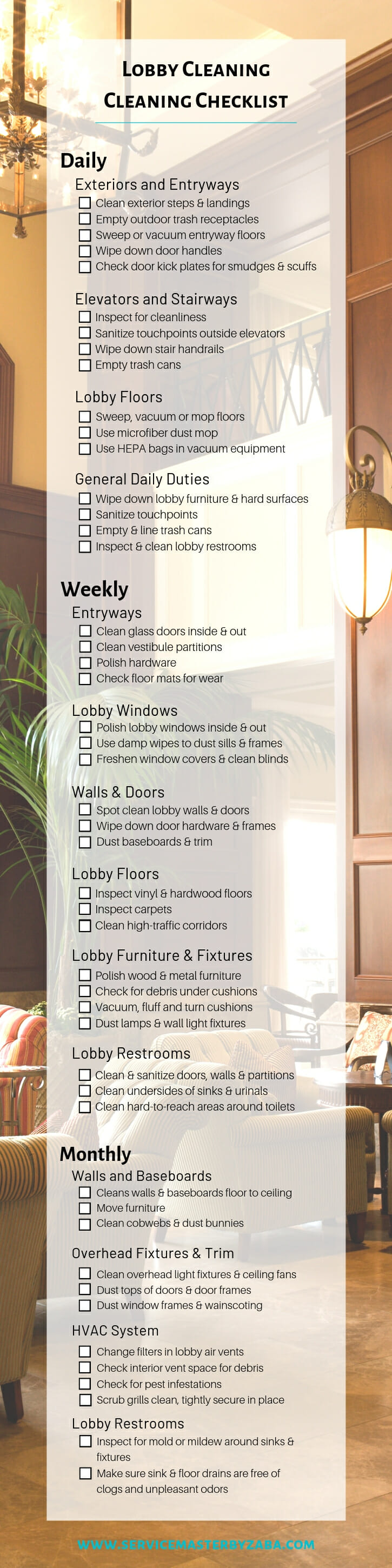 lobby cleaning checklist