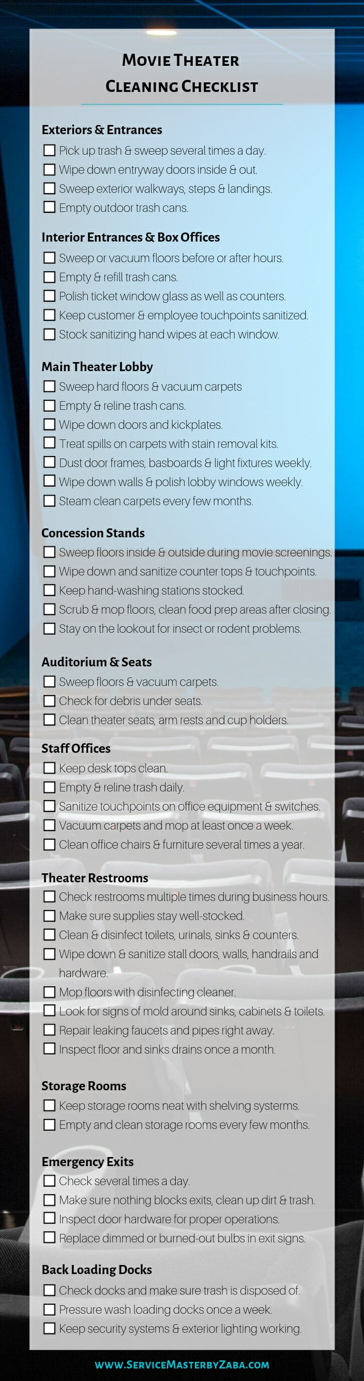 movie theater cleaning checklist