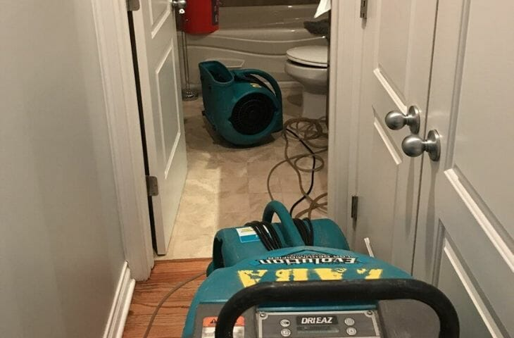 burst pipe bathroom drying equipment