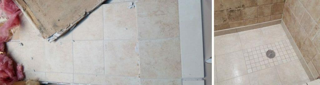 fix water damage behind shower tile