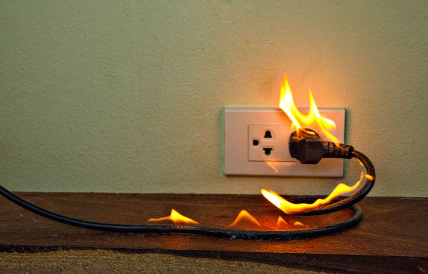 electric cord on fire