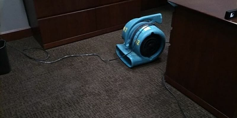 drying office water damage due to burst pipe